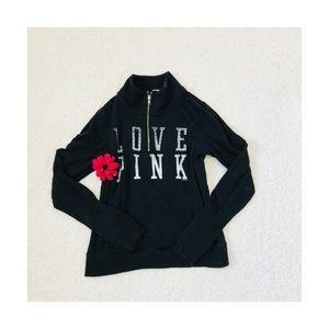 VS Victoria's Secret Pink Black 1/4 Zip Love Pink
